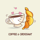 Coffee and croissant, love forever. Comic, cartoon. Vector illus