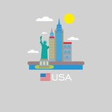New york city view and the Statue of Liberty in front of it. USA infographic badge.