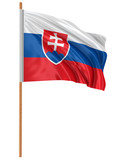 3D Slovak flag with fabric surface texture. White background.