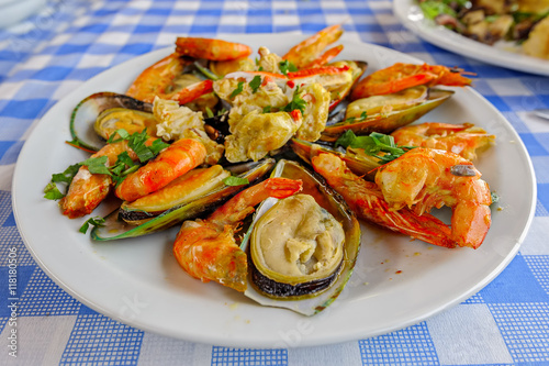 Cyprus seafood Meze at harbourside restaurant