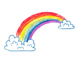 Watercolor cartoon rainbow and clouds isolated on white. Colorful vector illustration. - 118181783