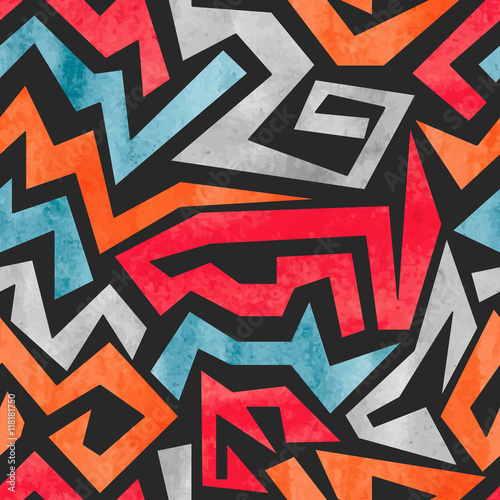 Watercolor graffiti seamless pattern. Vector colorful geometric abstract background.