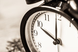 Retro vintage clock on sack closeup at 10 o'clock - 118184161