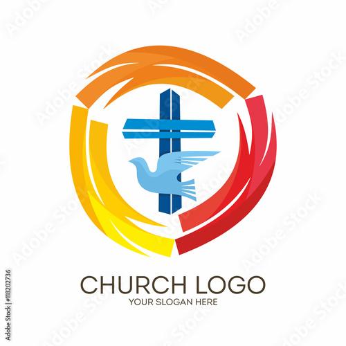 Church logo christian symbols jesus cross and dove the holy church logo christian symbols jesus cross and dove the holy spirit thecheapjerseys Gallery