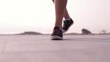 Close-up shot of dancing feet in sneakers