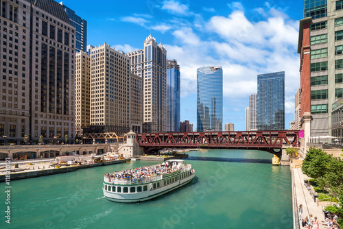 Papiers peints Chicago The Chicago River and downtwn Chicago skylinechicago, river, lak