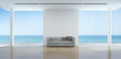Sea view living room interior in modern beach house - 3D rendering