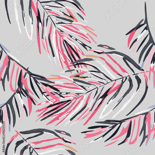 Seamless pattern with pastel pink flamingos. - 118215534