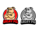 Angry Pig Cartoon Logo