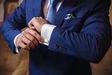 Businessman hands with cufflinks. Elegant gentleman clother - 118217304