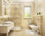 Modern bathroom in beige colors