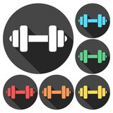 Gym dumbbell flat design, color icons set