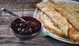 Home made pancakes with cherry jam