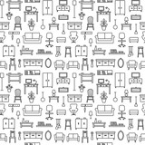 Vector seamless pattern background with home furniture outline icons 8 - 118224105
