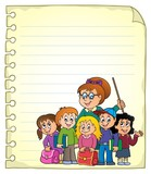 Notebook page with school class