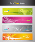 Set of abstract colorful headers with lines and place for your t