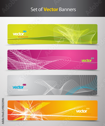 Zdjęcia na płótnie, fototapety, obrazy : Set of abstract colorful headers with lines and place for your t