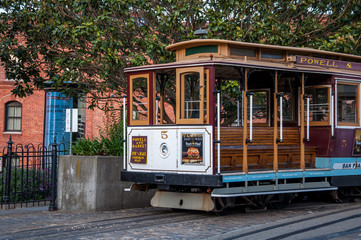 San Francisco, California, USA - APRIL 24, 2016:  Cable car at Hyde street, documentary editorial.