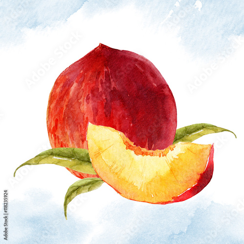 Watercolor tasty peach плакат