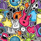 Music party kawaii seamless pattern. Musical instruments, symbols and objects in cartoon style