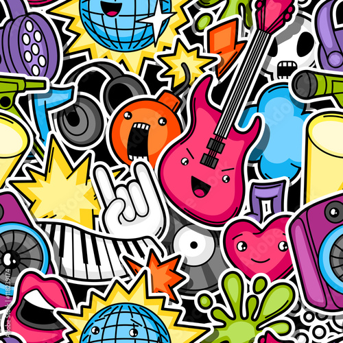 Music party kawaii seamless pattern. Musical instruments, symbols and objects in cartoon style - 118239174