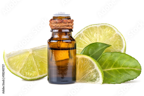 essential oil of lime on a white background Poster