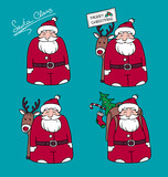 Cartoon Santa Claus with gifts and reindeer