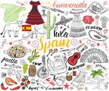 Fototapety Spain hand drawn sketch set vector illustration