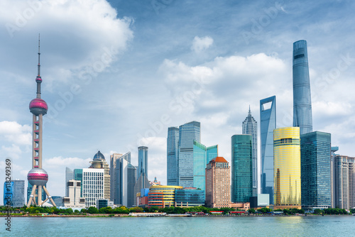 View of Pudong skyline, Shanghai, China. Skyscrapers in downtown