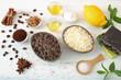 trattamento della pelle esfoliante naturale fatto in casa aroma limone e caffe