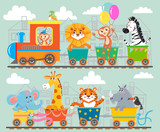 Fototapety Funny animal on train. Vector illustration