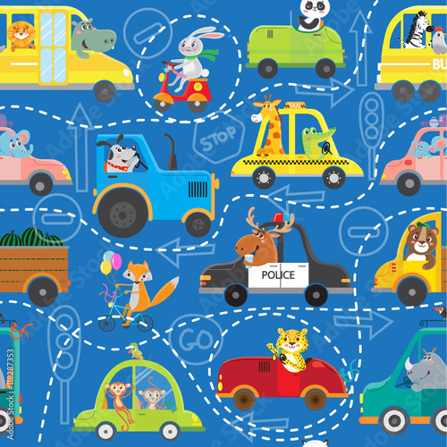 Funny animals on transport. Kids cartoon. Seamless pattern. Vector illustration