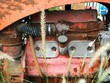 Old rusty tractor engine