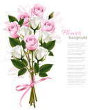 Beautiful bouquet of pink and white roses. Vector