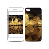 Mobile smartphone with an example of the screen and cover design isolated on white. Colorful polygonal background, blurred image, night city landscape, triangular vector texture