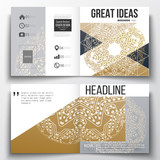 Set of annual report business templates for brochure, magazine, flyer or booklet. Golden microchip pattern, connecting dots and lines, connection structure. Digital scientific background