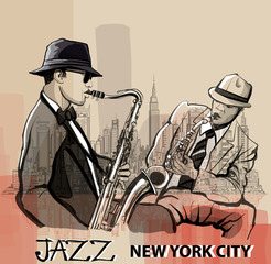 Two Jazz saxophonist playing in New York © Isaxar