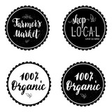 Set of four labels, stickers with hand written farmer