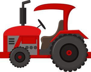 Red tractor cartoon