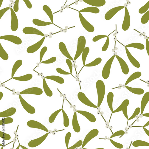 Cotton fabric Seamless christmas background with mistletoe design