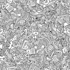 Cartoon cute doodles School seamless pattern