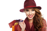 Autumn woman with shopping bags. Studio shoot