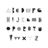 Vector black and white alphabet. Modern typeface made from different abstract shape and textures. Font set.