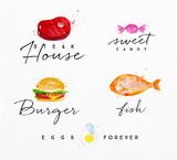 Watercolor label burger