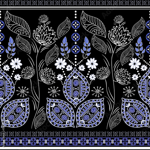 Black and blue ethnic vector border - 118382318