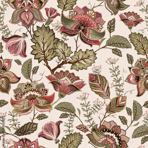 Vintage seamless pattern. Flowers background in provence style. - 118383172