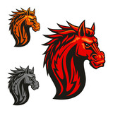 Fierce horse head chess stylized emblems