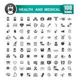 Set of 100 icon of health and medical vector illustration 001