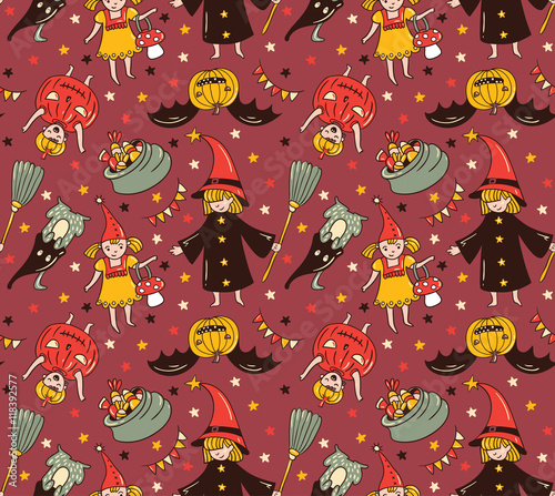Materiał do szycia Seamless halloween pattern with children in costumes. Witch and pumpkin background. Trick or treat vector illustration.