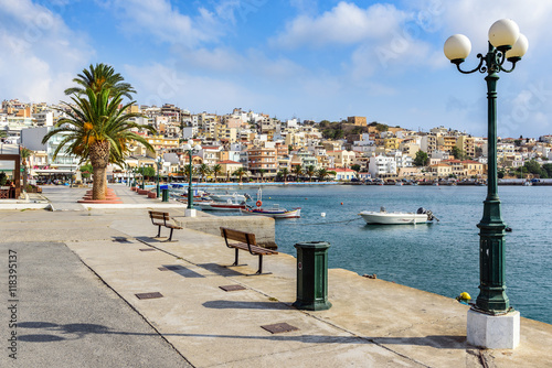 Beautiful promenade in center of Sitia town on Crete island
